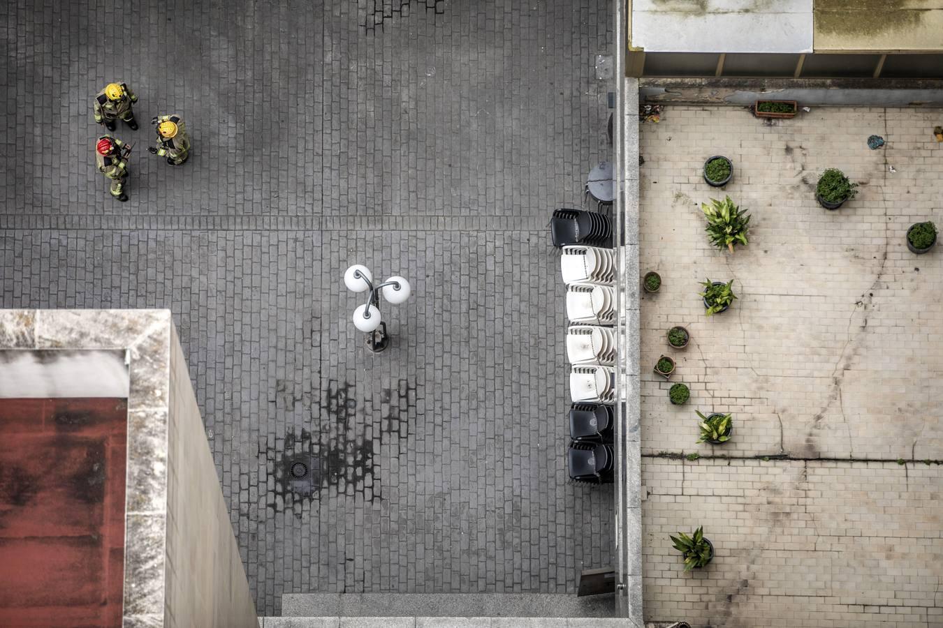 vista aerea de un patio interior de un edificio. Autor: Justo Rodriguez